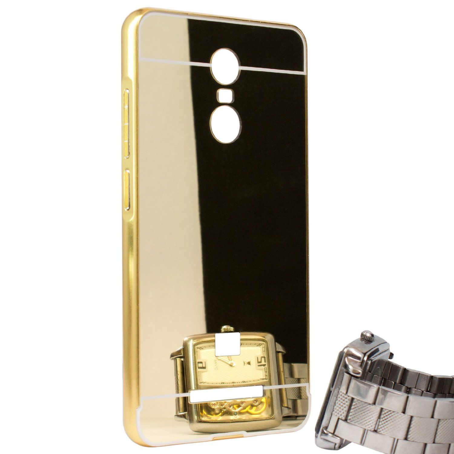 Style Crome Metal Bumper + Acrylic Mirror Back Cover Case For RedmiRedmi Note 3  Gold + Flexible Portable Thumb OK Stand