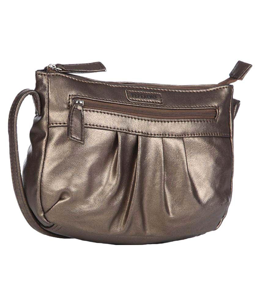 Peperone Gray Faux Leather Sling Bag