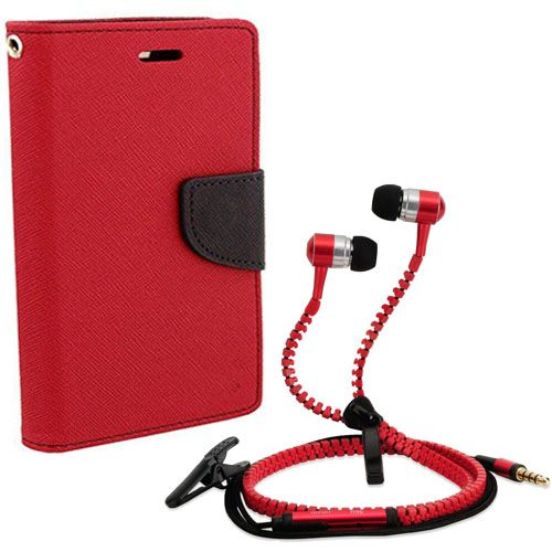 Wallet Flip Case Back Cover For Sony Xperia M5-(Red) + Zipper Hands free for all Mobiles By StyleCrome store