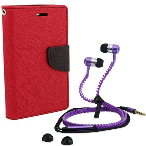 Wallet Flip Case Back Cover For micromax Yureka-(Red) + Zipper Hands free for all Mobiles By StyleCrome store