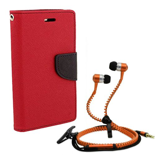 Wallet Flip Case Back Cover For micromax A110-(Red) + Zipper Hands free for all Mobiles By StyleCrome store