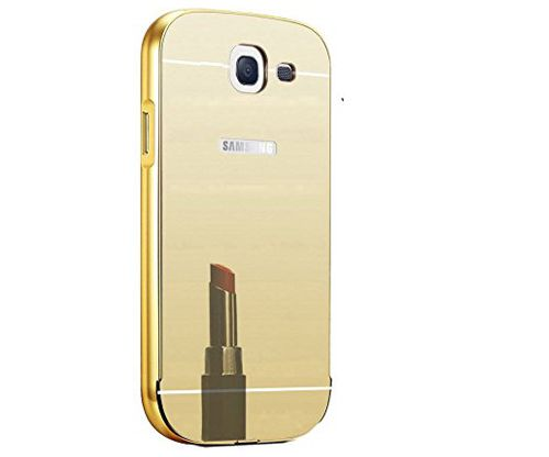 Style Crome Metal Bumper + Acrylic Mirror Back Cover Case For Samsung A510 Gold + Flexible Portable Thumb OK Stand