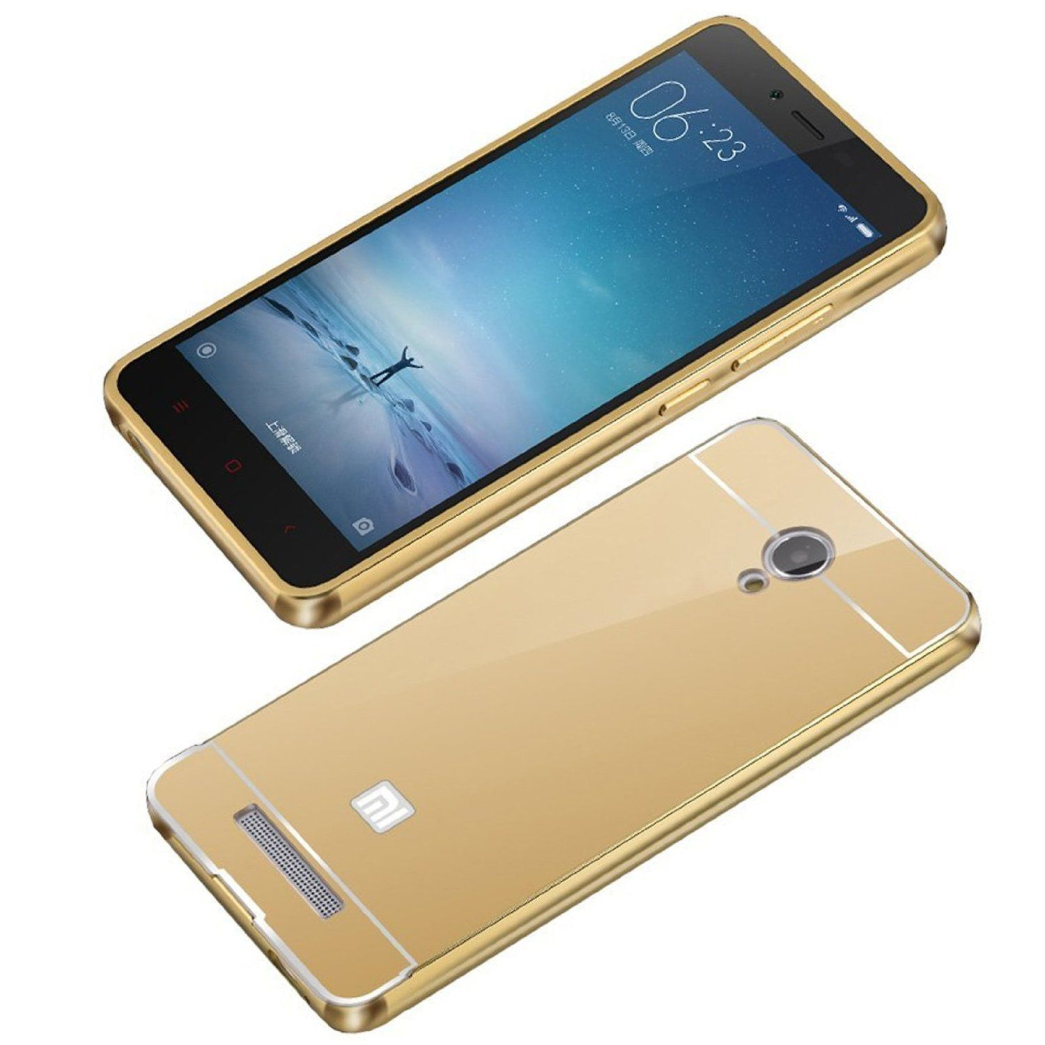 Style Crome Metal Bumper + Acrylic Mirror Back Cover Case For SamsungE5 Gold + Flexible Portable Thumb OK Stand