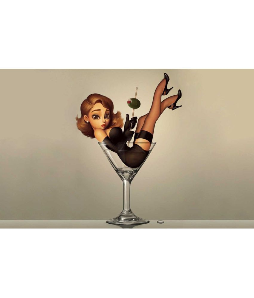Tallenge Girl In A Martini Glass - Bar Art Canvas Art Prints Without Frame Single Piece