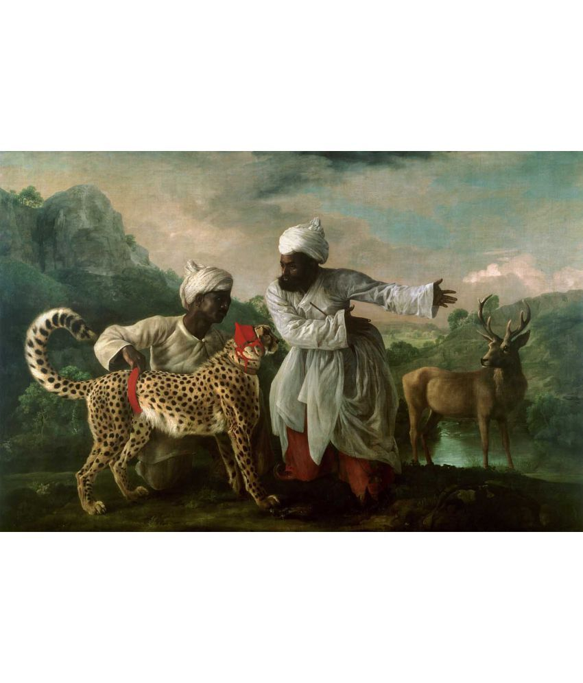 Tallenge A Cheetah and Stag with Two Indian Canvas Art Prints Without Frame Single Piece