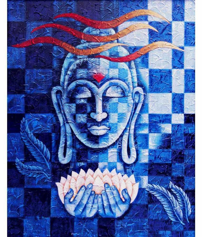 Tallenge Acrylic Lotus Buddha Canvas Art Prints Without Frame Single Piece