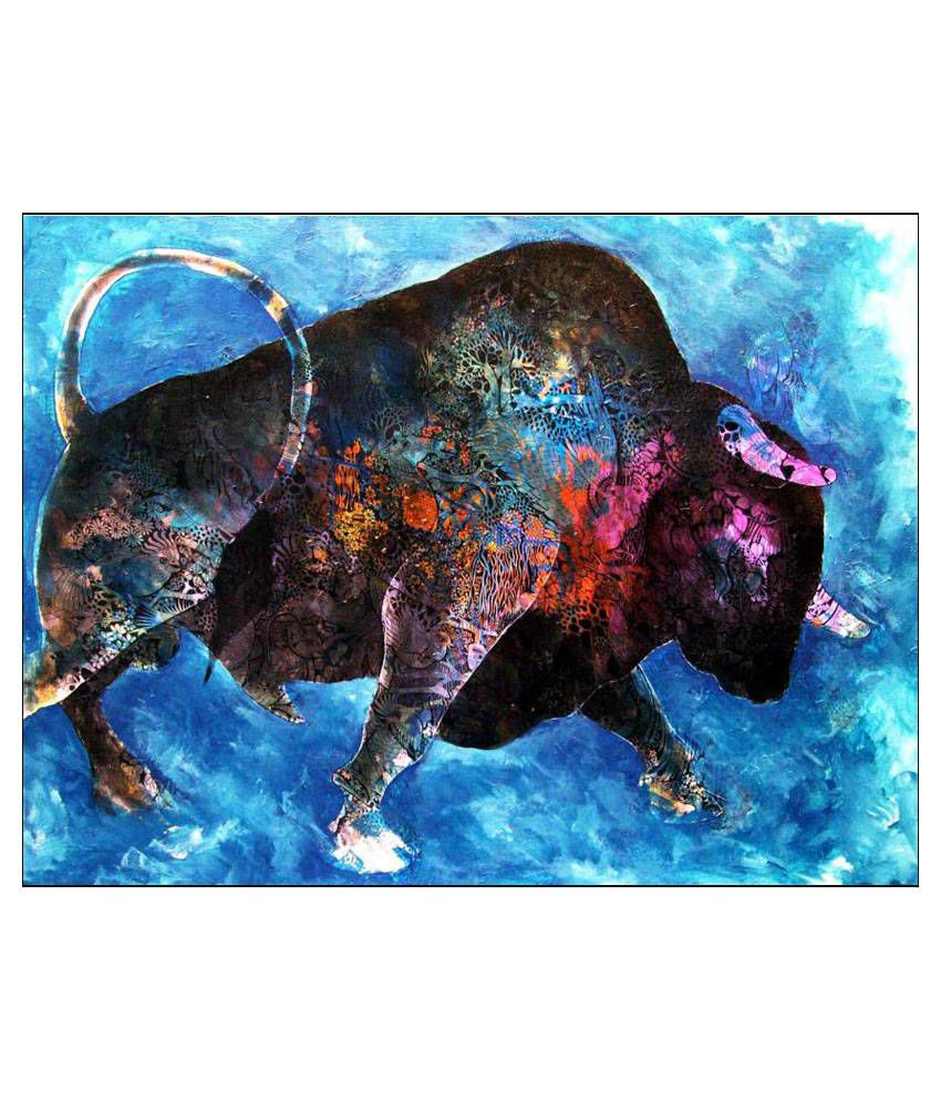 Tallenge Big Bull At Stock Market Canvas Art Prints Without Frame Single Piece