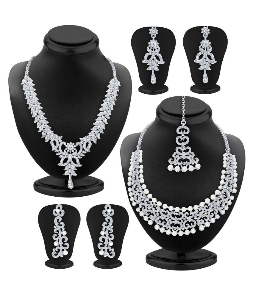 Sukkhi Silver Necklace Set Combo