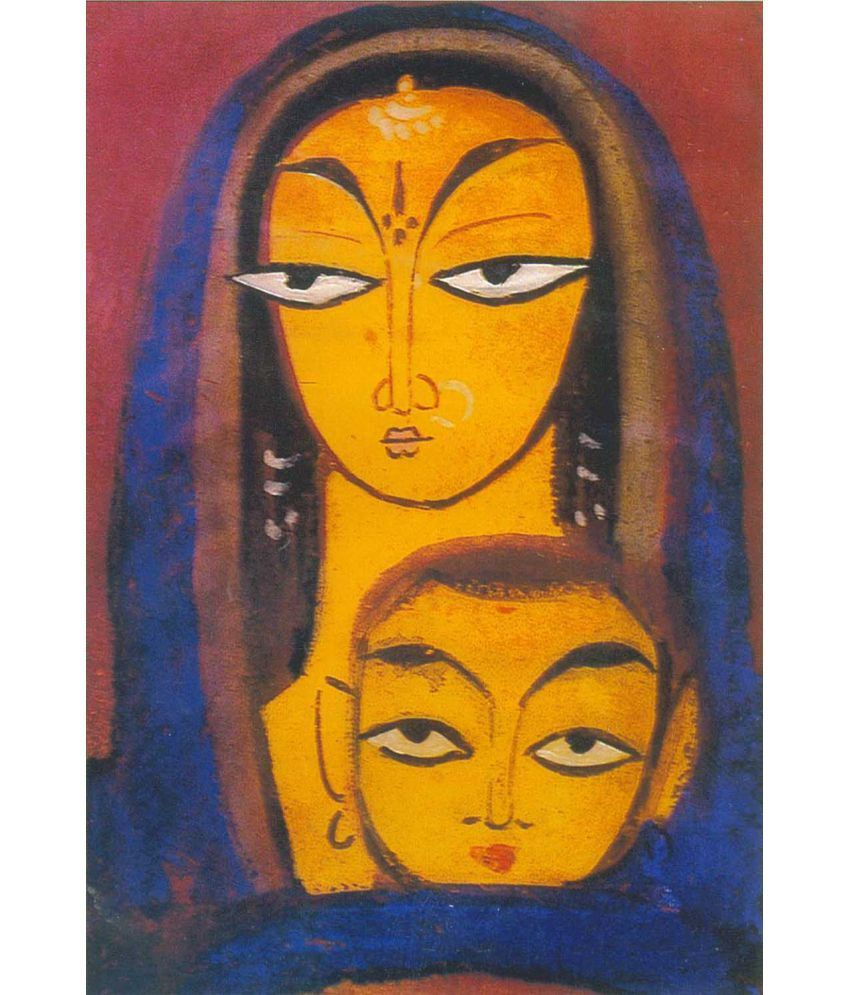 Tallenge Jamini Roy - Mother And Child 2 Canvas Art Prints Without Frame Single Piece
