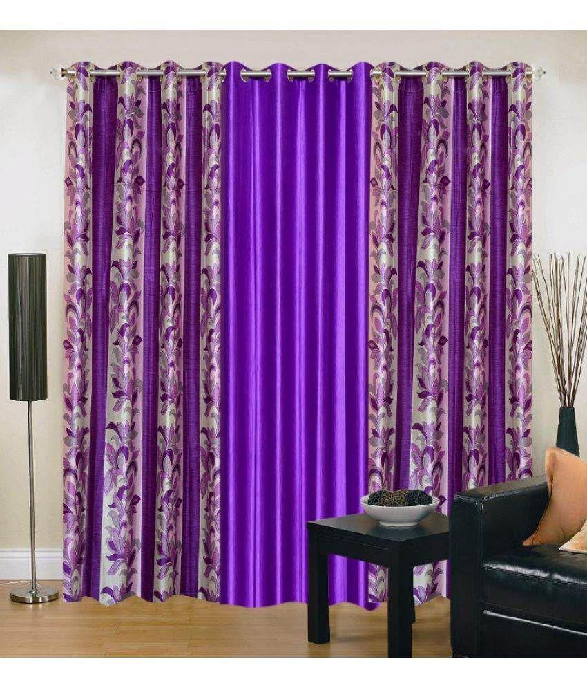 Stella Creations Set of 3 Long Door Eyelet Curtains Floral Purple