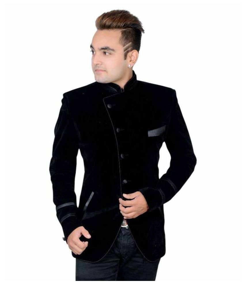 Shaurya-F Black Plain Party Tuxedo