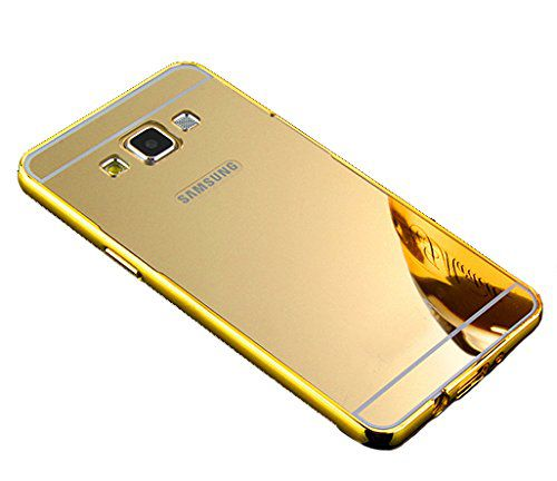 Style Crome Metal Bumper + Acrylic Mirror Back Cover Case For Samsung ON5 Gold + Flexible Portable Thumb OK Stand