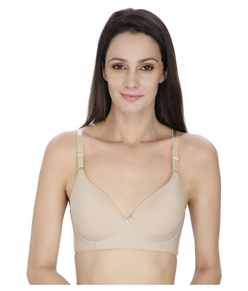 By The Way Beige Poly Cotton T-Shirt/ Seamless Bra