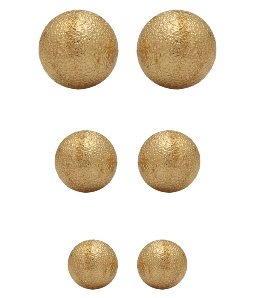 Voylla Golden Stud Earrings - Set of 3