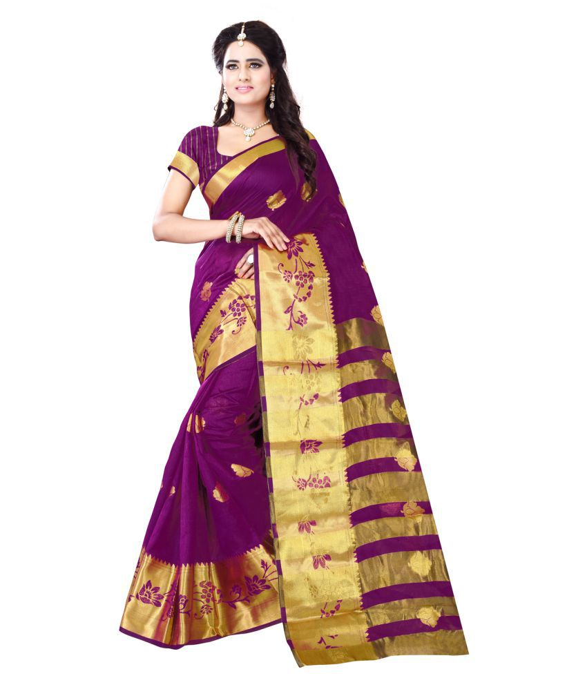 Shopping Point Multicoloured Cotton Poly Saree