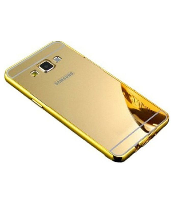 Style Crome Metal Bumper + Acrylic Mirror Back Cover Case For Samsung S5 Gold + Flexible Portable Thumb OK Stand