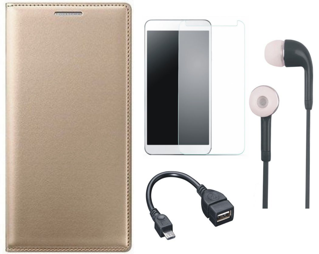 Matrix Leather Finish Flip Cover for Lenovo K3 Note with Earphones, Screenguard and OTG Cable