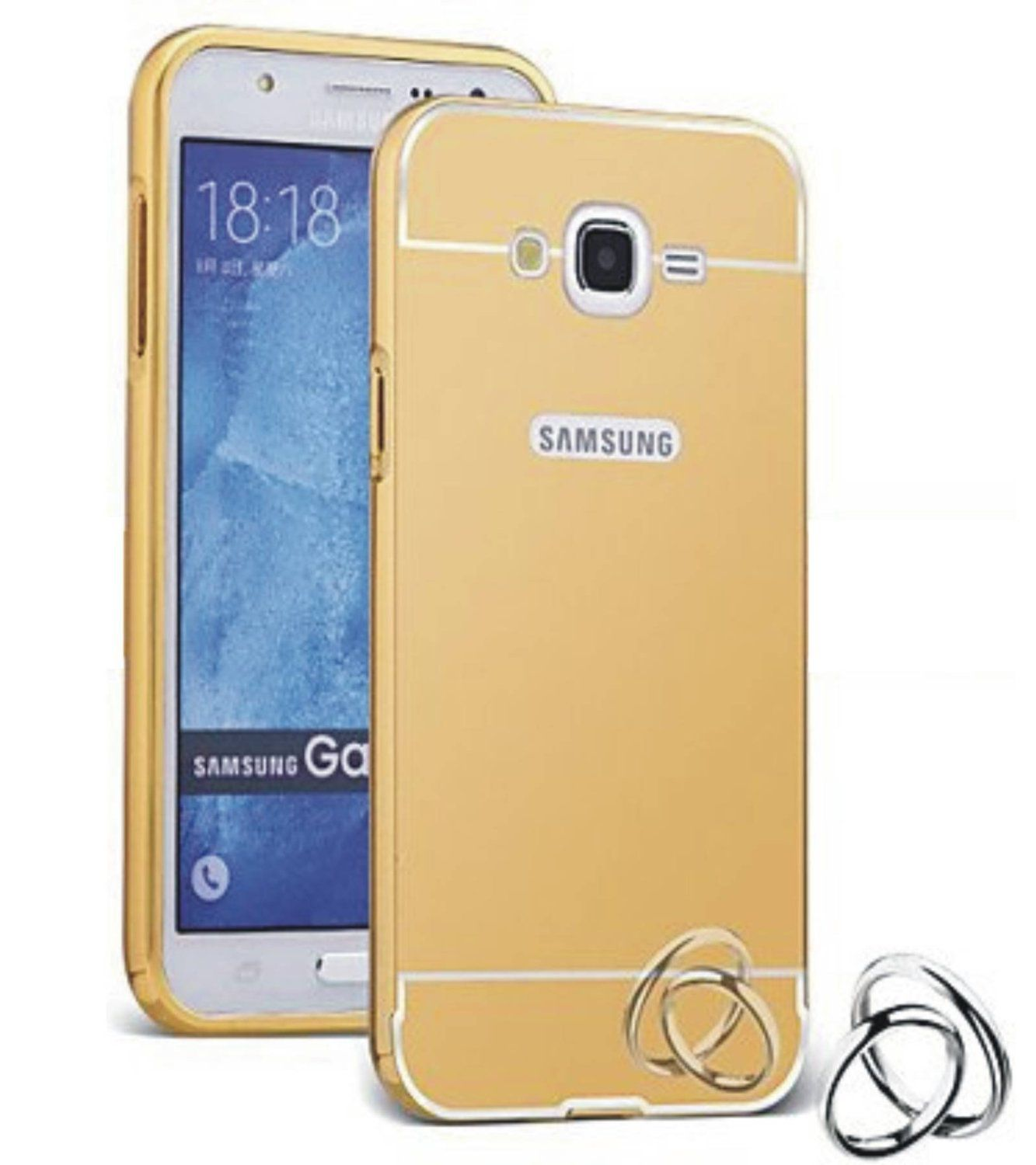 Style Crome Metal Bumper + Acrylic Mirror Back Cover Case For Samsung  J2  Gold + Flexible Portable Thumb OK Stand