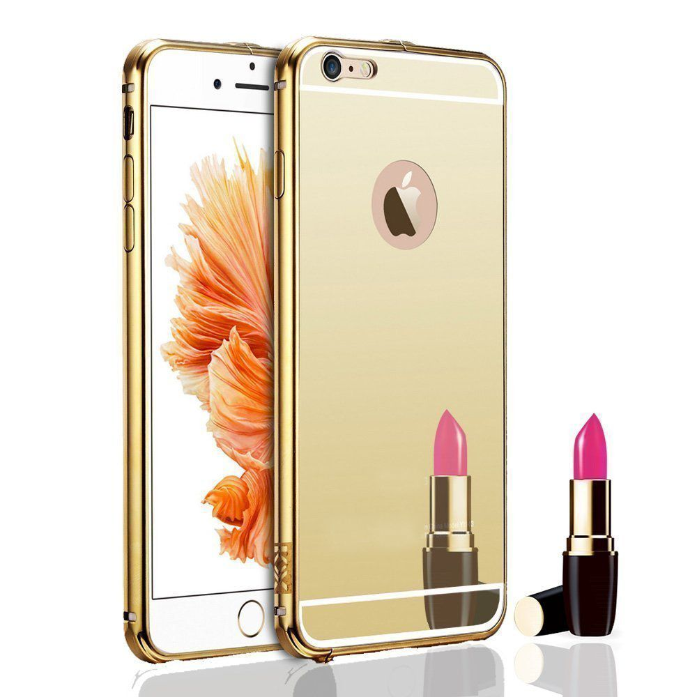 Style Crome Metal Bumper + Acrylic Mirror Back Cover Case For Apple6G Gold + Flexible Portable Thumb OK Stand