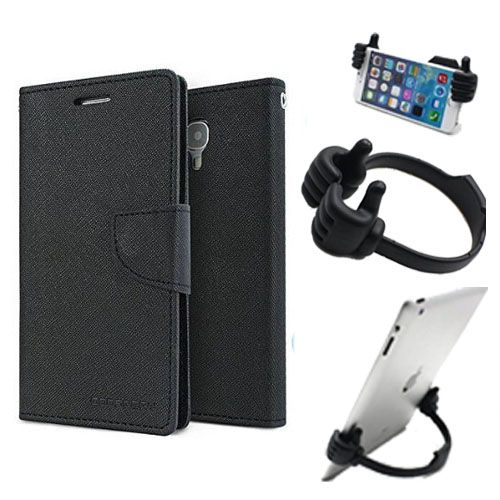 Wallet Flip Case Back Cover For Samsung Z1 -(Black) + Flexible Portable Thumb Ok Stand Holder By Style Crome store