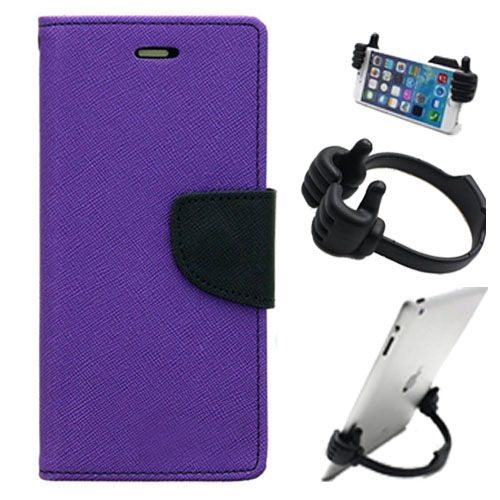 Wallet Flip Case Back Cover For Samsung A8-(Purple) + Flexible Portable Thumb Ok Stand Holder By Style Crome store