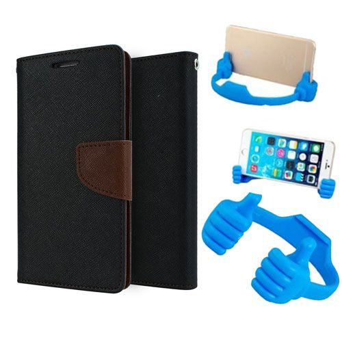 Wallet Flip Case Back Cover For Samsung G850-(Blackbrown) + Flexible Portable Thumb Ok Stand Holder By Style Crome store