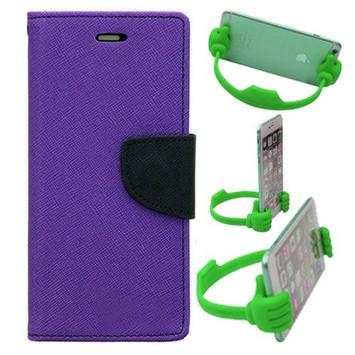 Wallet Flip Case Back Cover For Motorola Moto Xplay-(Purple) + Flexible Portable Thumb Ok Stand Holder By Style Crome store