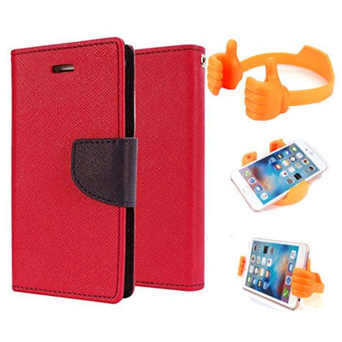 Wallet Flip Case Back Cover For Sony Xperia T2 Ultra-(Red) + Flexible Portable Thumb Ok Stand Holder By Style Crome store