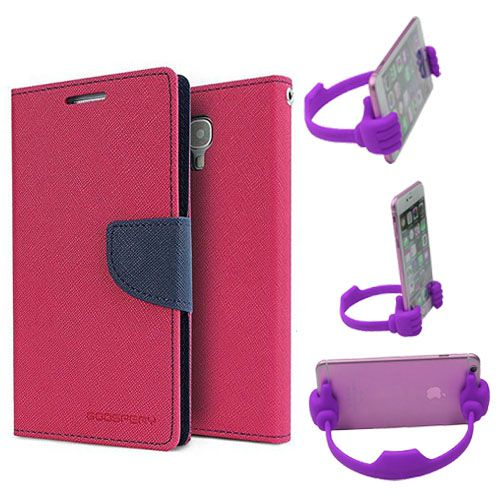 Wallet Flip Case Back Cover For Samsung Tizen Z3-(Pink) + Flexible Portable Thumb Ok Stand Holder By Style Crome store