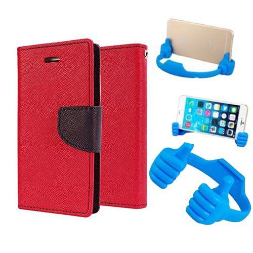 Wallet Flip Case Back Cover For Micromax Q372-(Red) + Flexible Portable Thumb Ok Stand Holder By Style Crome store