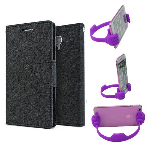 Wallet Flip Case Back Cover For Micromax Yureka -(Black) + Flexible Portable Thumb Ok Stand Holder By Style Crome store