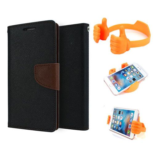 Wallet Flip Case Back Cover For Sony Xperia M2-(Blackbrown) + Flexible Portable Thumb Ok Stand Holder By Style Crome store