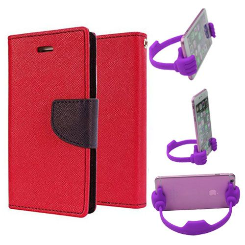 Wallet Flip Case Back Cover For Samsung J1 Ace-(Red) + Flexible Portable Thumb Ok Stand Holder By Style Crome store