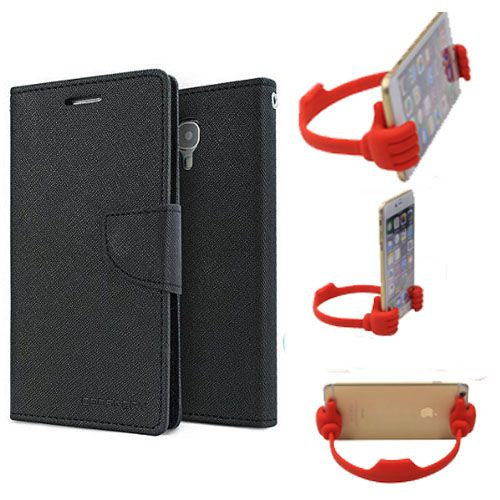 Wallet Flip Case Back Cover For Samsung 9300-(Black) + Flexible Portable Thumb Ok Stand Holder By Style Crome store