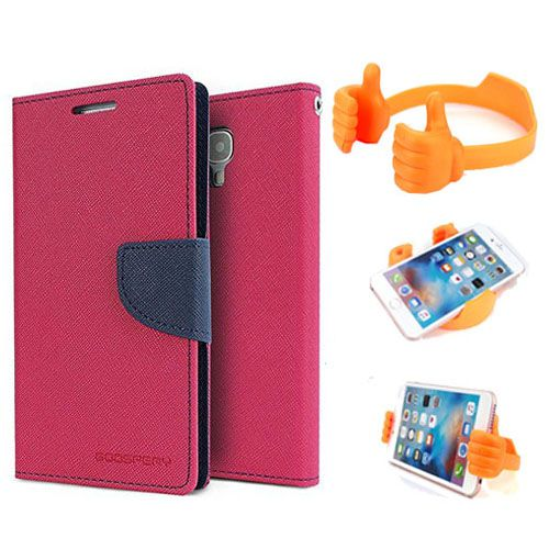 Wallet Flip Case Back Cover For Sony Xperia E3-(Pink) + Flexible Portable Thumb Ok Stand Holder By Style Crome store