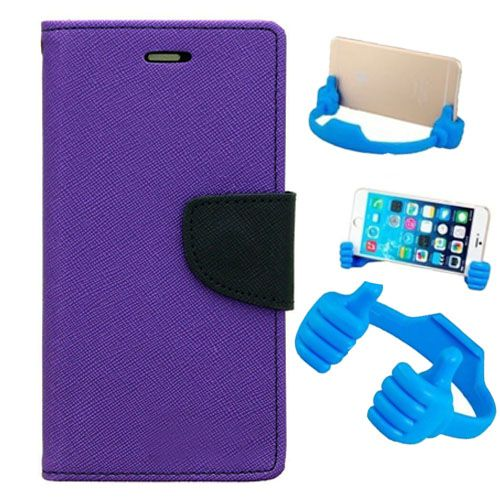 Wallet Flip Case Back Cover For One Plus Two-(Purple) + Flexible Portable Thumb Ok Stand Holder By Style Crome store