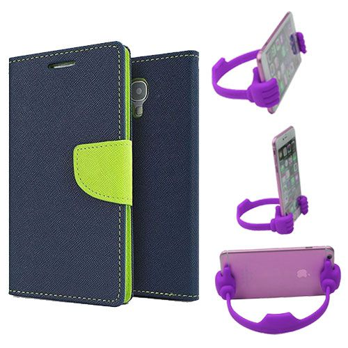 Wallet Flip Case Back Cover For Nokia 535-(Blue) + Flexible Portable Thumb Ok Stand Holder By Style Crome store