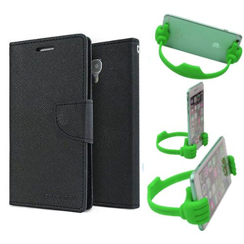 Wallet Flip Case Back Cover For Samsung Note 3 new -(Black) + Flexible Portable Thumb Ok Stand Holder By Style Crome store