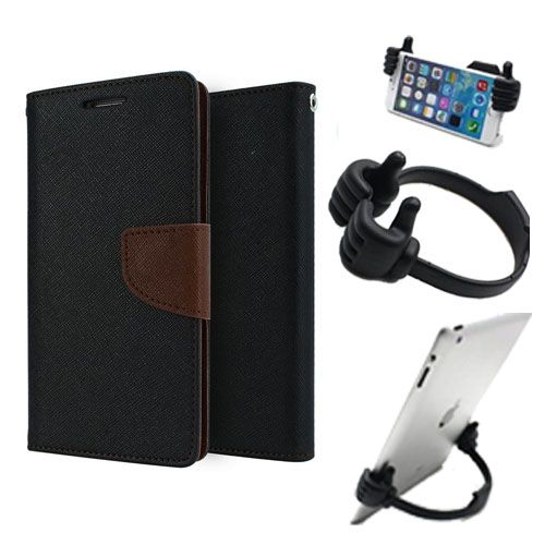 Wallet Flip Case Back Cover For Apple Iphone 6 Plus-(Blackbrown) + Flexible Portable Thumb Ok Stand Holder By Style Crome store