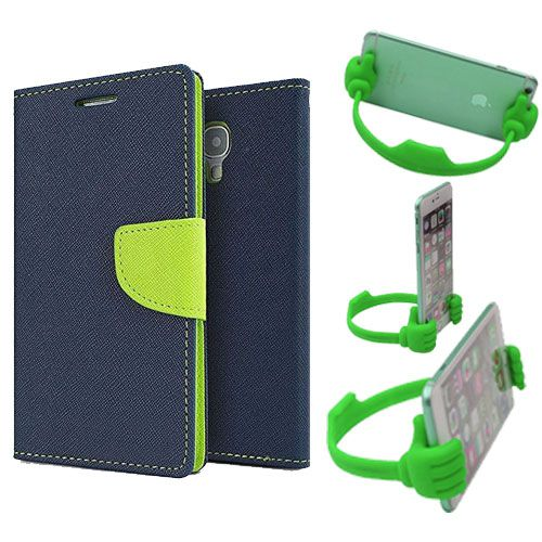 Wallet Flip Case Back Cover For Samsung Note 3 new-(Blue) + Flexible Portable Thumb Ok Stand Holder By Style Crome store