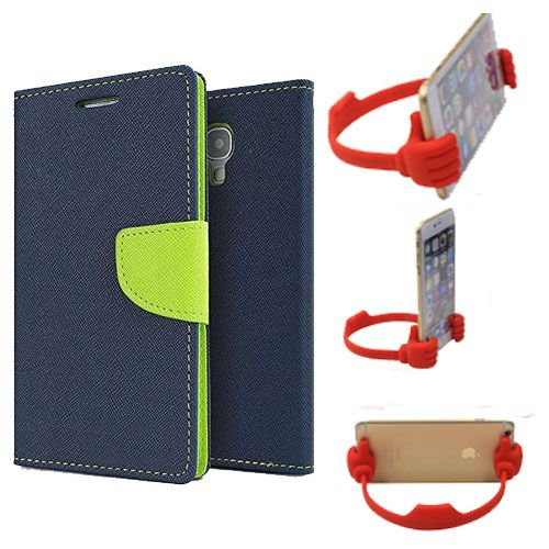 Wallet Flip Case Back Cover For Nokia 520-(Blue) + Flexible Portable Thumb Ok Stand Holder By Style Crome store