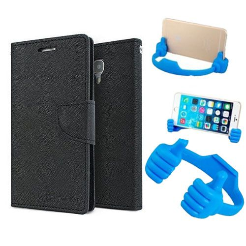 Wallet Flip Case Back Cover For Lenovo A6000 -(Black) + Flexible Portable Thumb Ok Stand Holder By Style Crome store