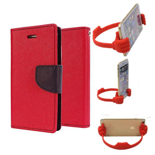 Wallet Flip Case Back Cover For Micromax A102-(Red) + Flexible Portable Thumb Ok Stand Holder By Style Crome store