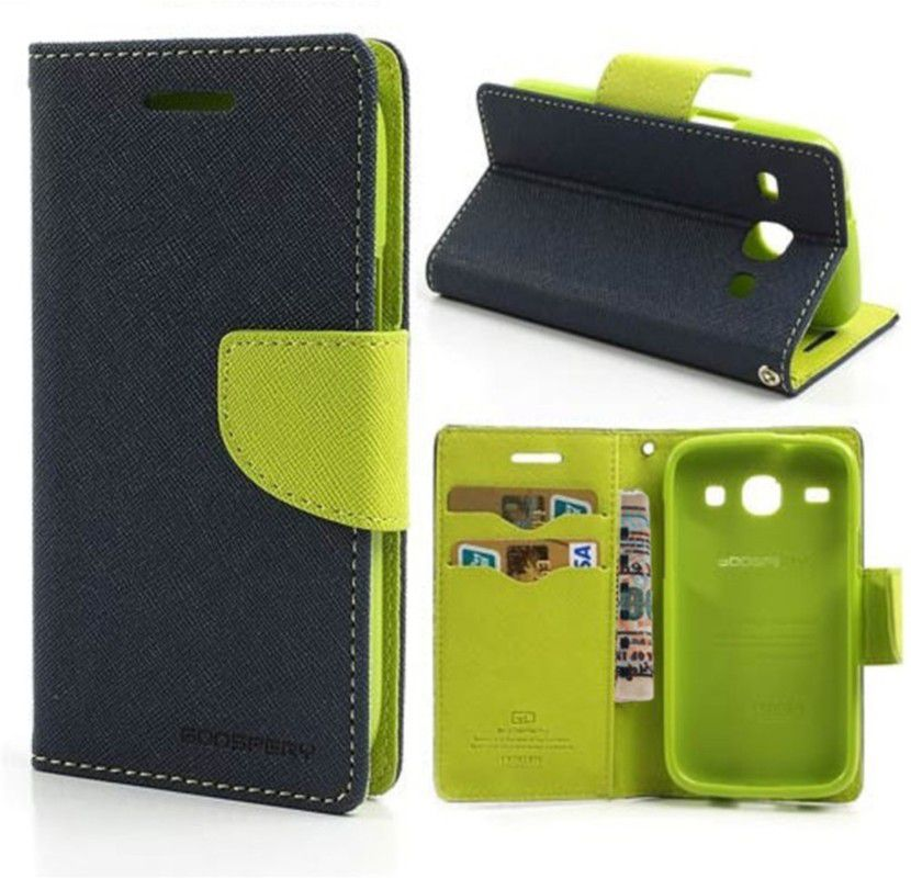 Wallet Flip Case Back Cover For Samsung S5-(Blue) + Flexible Portable Thumb Ok Stand Holder By Style Crome store