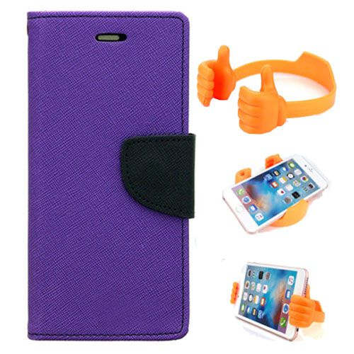 Wallet Flip Case Back Cover For Samsung J1-(Purple) + Flexible Portable Thumb Ok Stand Holder By Style Crome store