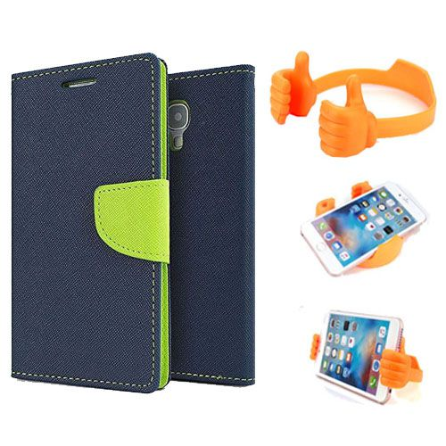 Wallet Flip Case Back Cover For Micromax E313-(Blue) + Flexible Portable Thumb Ok Stand Holder By Style Crome store