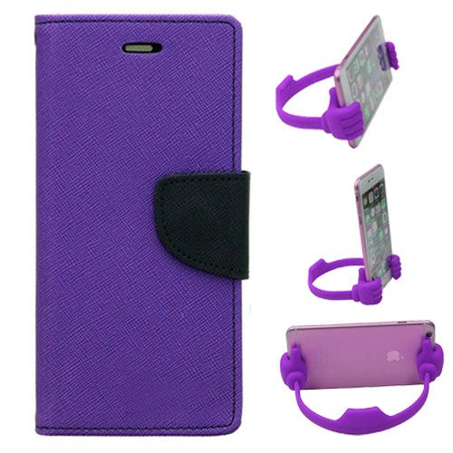 Wallet Flip Case Back Cover For Samsung G850-(Purple) + Flexible Portable Thumb Ok Stand Holder By Style Crome store