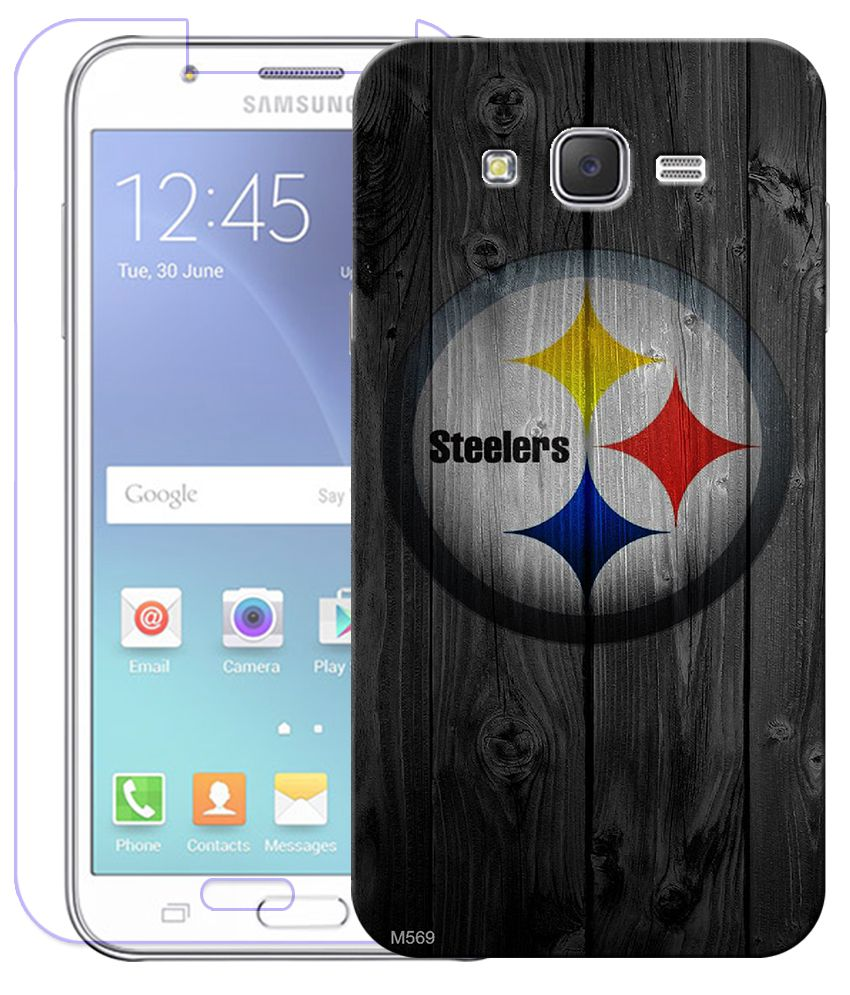 Finest Combo of Steelers HD UV Printed Mobile Back Cover and Tempered Glass Screen Guard For Samsung Galaxy J7