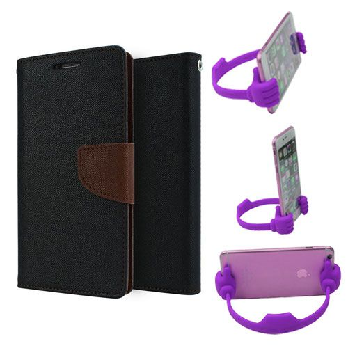Wallet Flip Case Back Cover For Coolpad note 3-(Blackbrown) + Flexible Portable Thumb Ok Stand Holder By Style Crome store