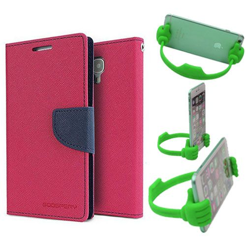 Wallet Flip Case Back Cover For Asus Zenfone 2-(Pink) + Flexible Portable Thumb Ok Stand Holder By Style Crome store